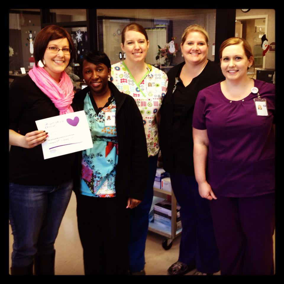 Carmen with the chemotherapy nurses at Physicians East in Greenville, NC.